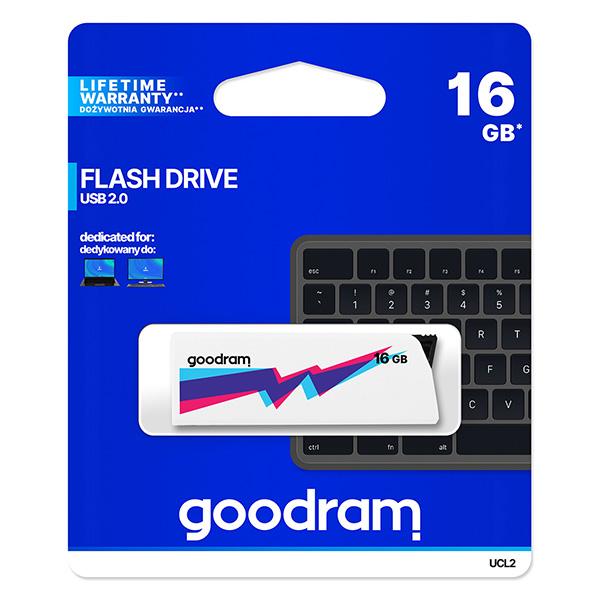 Goodram USB flash disk, USB 2.0, 16GB, UCL2, biely, UCL2-0160W0R11, USB A, vysúvací konektor