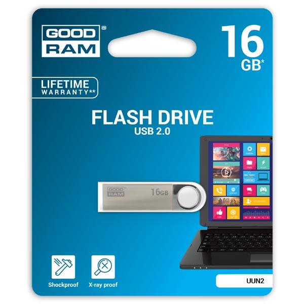 Goodram USB flash disk, USB 2.0, 16GB, UUN2, strieborný, UUN2-0160S0R11, USB A, s pútkom