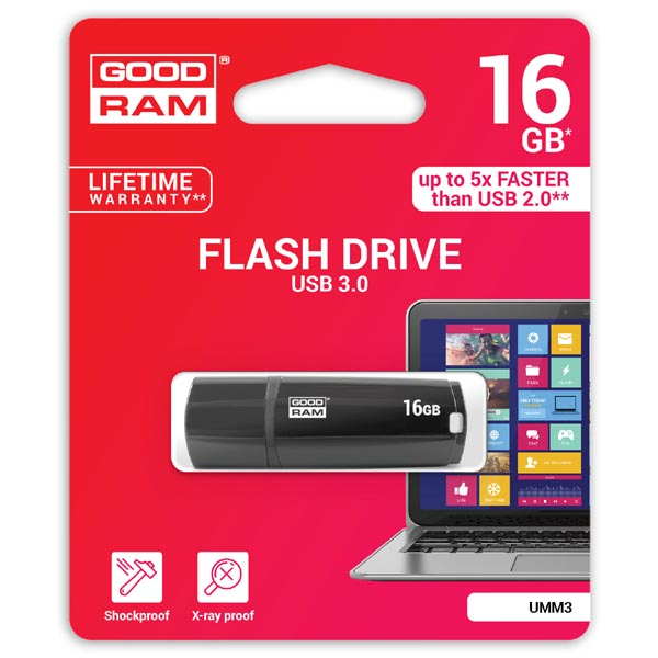 Goodram USB flash disk, USB 3.0 (3.2 Gen 1), 16GB, UMM3, čierny, UMM3-0160K0R11, USB A, s krytkou