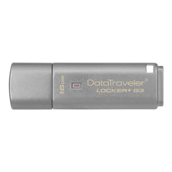 Kingston USB flash disk, USB 3.0 (3.2 Gen 1), 16GB, Data Traveler Locker+ G3, strieborný, DTLPG3/16GB, USB A, s krytkou