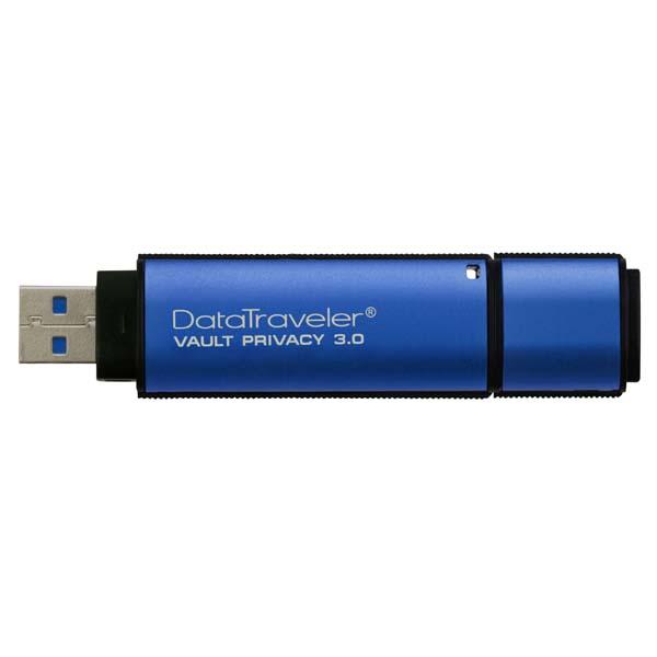 Kingston USB flash disk, USB 3.0 (3.2 Gen 1), 16GB, Data Traveler Vault Privacy, modrý, DTVP30/16GB, USB A, XTS-AES 256-bit šifrov