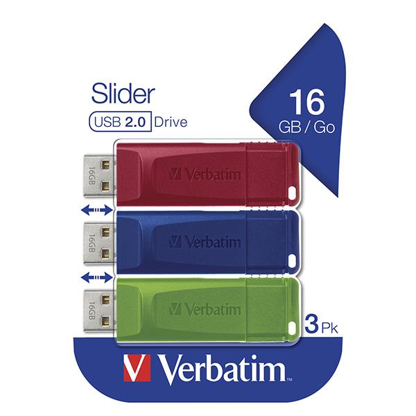 Verbatim USB flash disk, USB 2.0, 16GB, Slider, zelený, modrý, červený, 49326, USB A, s výsuvným konektorom, 3 ks
