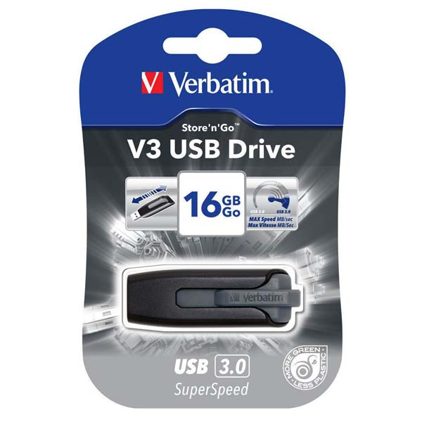 Verbatim USB flash disk, USB 3.0 (3.2 Gen 1), 16GB, V3, Store N Go, čierny, 49172, USB A, s výsuvným konektorom