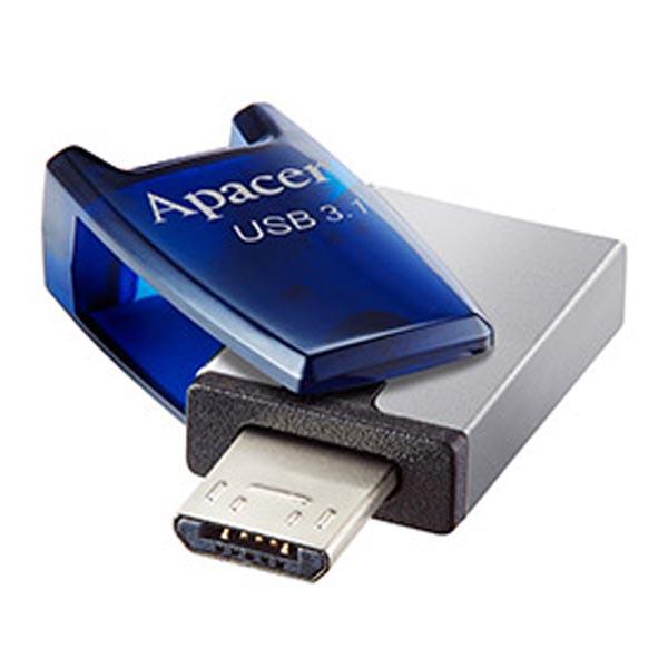 Apacer USB flash disk OTG, USB 3.0 (3.2 Gen 1), 32GB, AH179, modrý, AP32GAH179U-1, USB A / USB Micro B, s otočnou krytkou