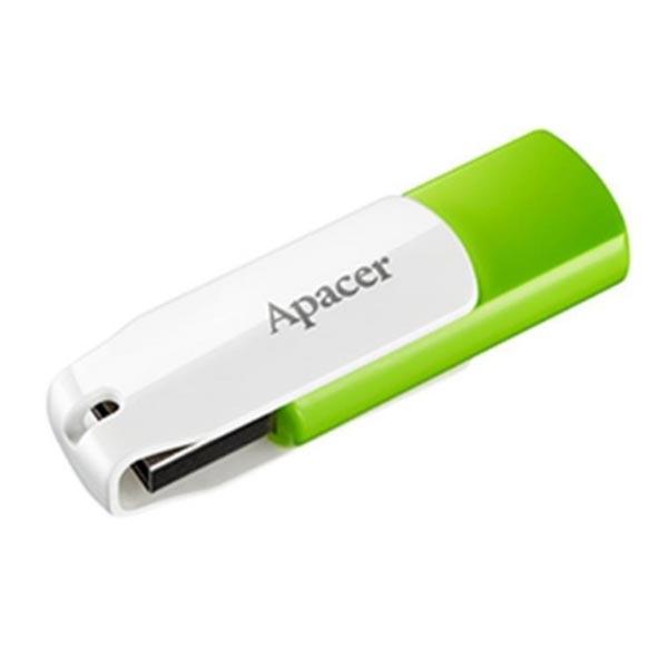 Apacer USB flash disk, USB 2.0, 32GB, AH335, zelený, AP32GAH335G-1, USB A, s otočnou krytkou