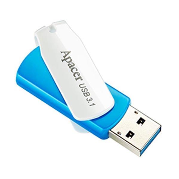 Apacer USB flash disk, USB 3.0 (3.2 Gen 1), 32GB, AH357, modrý, AP32GAH357U-1, USB A, s otočnou krytkou