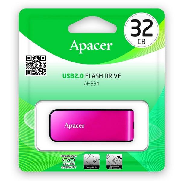 Apacer USB flash disk, USB 2.0, 32GB, AH334, ružový, AP32GAH334P-1, USB A, s výsuvným konektorom