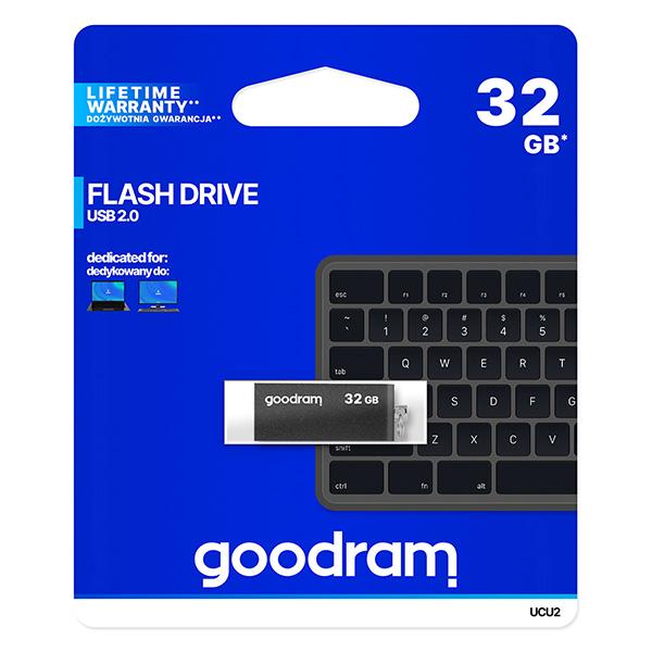 Goodram USB flash disk, USB 2.0, 32GB, UCU2, čierny, UCU2-0320K0R11, USB A, s otočnou krytkou
