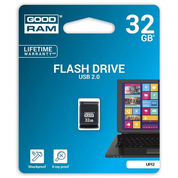 Goodram USB flash disk, USB 2.0, 32GB, UPI2, čierny, UPI2-0320K0R11, USB A, s krytkou