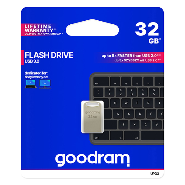 Goodram USB flash disk, USB 3.0 (3.2 Gen 1), 32GB, UPO3, strieborný, UPO3-0320S0R11, USB A, s pútkom