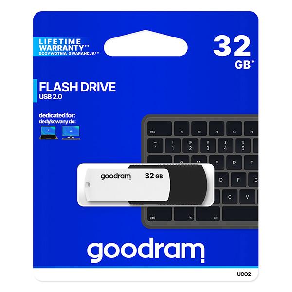 Goodram USB flash disk, USB 2.0, 32GB, UC02, čierny, UCO2-0320KWR11, USB A, s otočnou krytkou