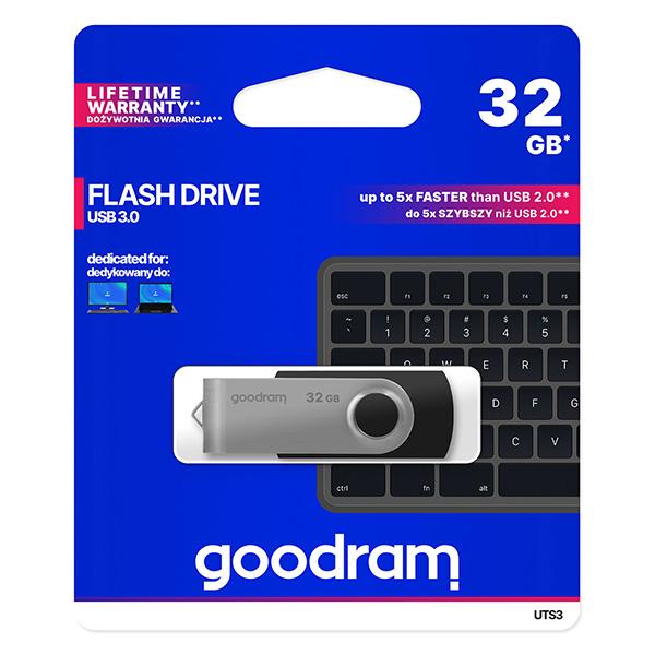 Goodram USB flash disk, USB 3.0 (3.2 Gen 1), 32GB, UTS3, čierny, UTS3-0320K0R11, USB A, s otočnou krytkou