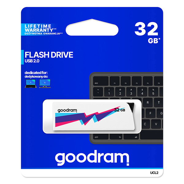 Goodram USB flash disk, USB 2.0, 32GB, UCL2, biely, UCL2-0320W0R11, USB A, vysúvací konektor