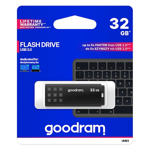 Goodram USB flash disk, USB 3.0 (3.2 Gen 1), 32GB, UME3, čierny, UME3-0320K0R11, USB A, s krytkou