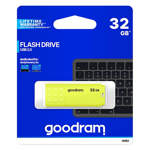 Goodram USB flash disk, USB 2.0, 32GB, UME2, žltý, UME2-0320Y0R11, USB A, s krytkou