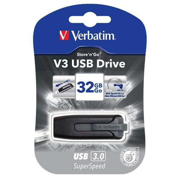 Verbatim USB flash disk, USB 3.0 (3.2 Gen 1), 32GB, V3, Store N Go, čierny, 49173, USB A, s výsuvným konektorom