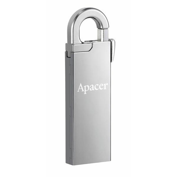 Apacer USB flash disk, USB 2.0, 64GB, AH13A, strieborný, AP64GAH13AS-1, USB A, s karabinkou