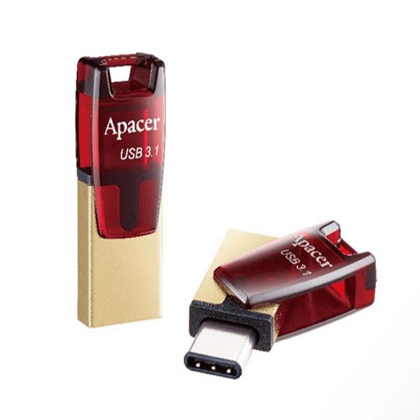 Apacer USB flash disk OTG, USB 3.0 (3.2 Gen 1), 64GB, AH180, červený, AP64GAH180R-1, USB A / USB C, s otočnou krytkou