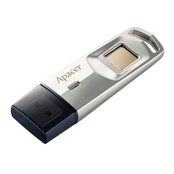 Apacer USB flash disk, USB 3.0 (3.2 Gen 1), 64GB, AH651, strieborný, AP64GAH651S-1, USB A, s čítačkou odltačkov prstov
