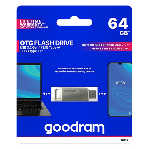 Goodram USB flash disk, USB 3.0 (3.2 Gen 1), 64GB, ODA3, strieborný, ODA3-0640S0R11, USB A / USB C, s otočnou krytkou