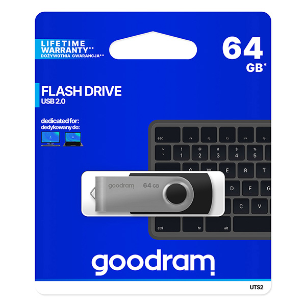 Goodram USB flash disk, USB 2.0, 64GB, UTS2, čierny, UTS2-0640K0R11, USB A, s otočnou krytkou