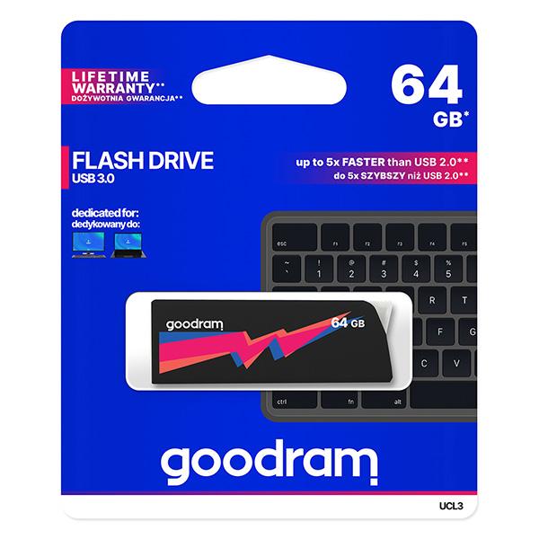 Goodram USB flash disk, USB 3.0 (3.2 Gen 1), 64GB, UCL3, čierny, UCL3-0640K0R11, USB A, s výsuvným konektorom