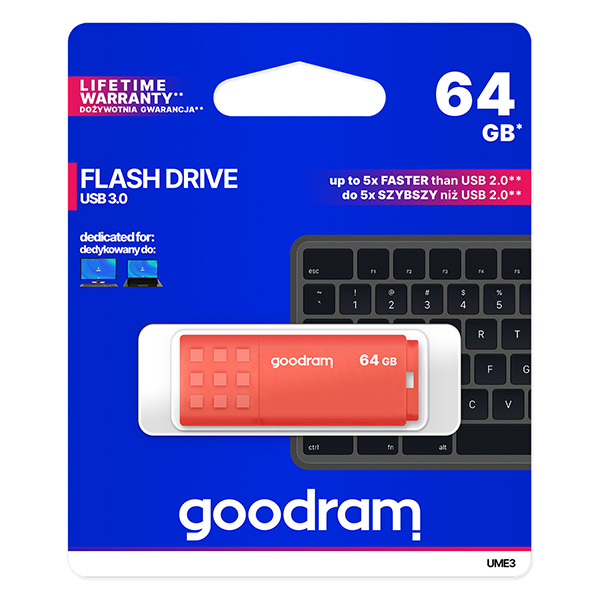 Goodram USB flash disk, USB 3.0 (3.2 Gen 1), 64GB, UME3, oranžový, UME3-0640O0R11, USB A, s krytkou
