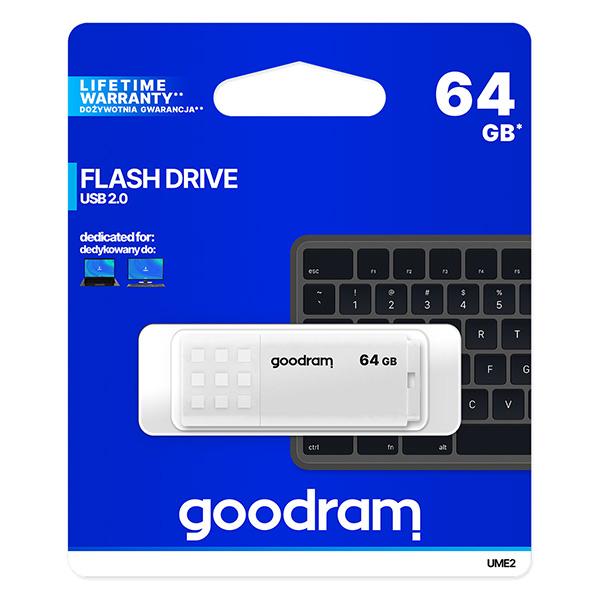 Goodram USB flash disk, USB 2.0, 64GB, UME2, biely, UME2-0640W0R11, USB A, s krytkou