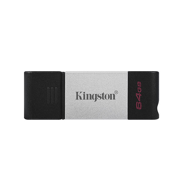 Kingston USB flash disk, USB 3.0 (3.2 Gen 1), 64GB, DataTraveler 80, čierny, DT80/64GB, USB C