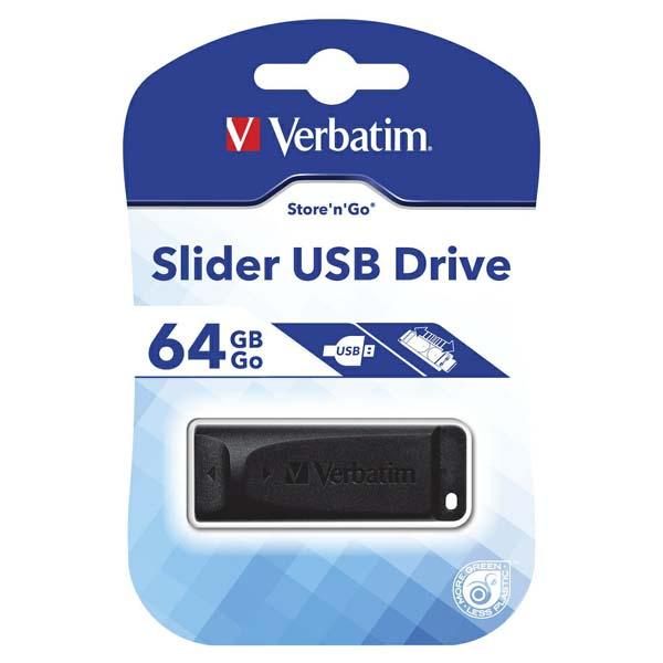 Verbatim USB flash disk, USB 2.0, 64GB, Slider, čierny, 98698, USB A, s výsuvným konektorom