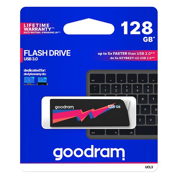 Goodram USB flash disk, USB 3.0 (3.2 Gen 1), 128GB, UCL3, čierny, UCL3-1280K0R11, USB A, s výsuvným konektorom
