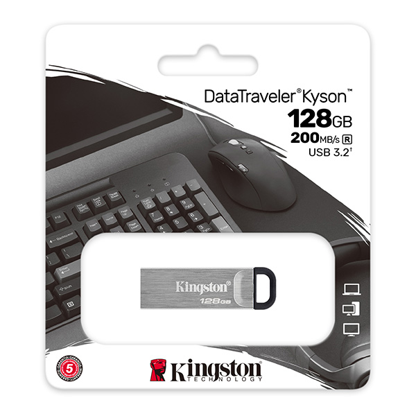 Kingston USB flash disk, USB 3.0 (3.2 Gen 1), 128GB, DataTraveler(R) Kyson, strieborný, DTKN/128GB, USB A, s pútkom