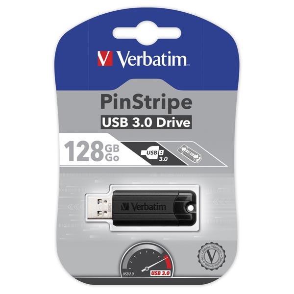 Verbatim USB flash disk, USB 3.0 (3.2 Gen 1), 128GB, PinStripe, Store N Go, čierny, 49319, USB A, s výsuvným konektorom