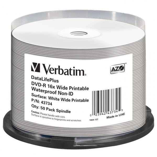 Verbatim DVD-R, 43734, Waterproof, 50-pack, 4.7GB, 16x, 12cm, General, Standard, cake box, Wide Printable, pre archiváciu dát