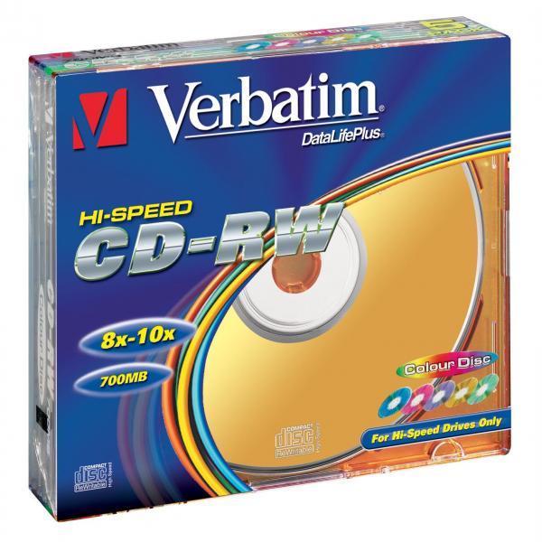 Verbatim CD-RW, 43167, DataLife PLUS, 5-pack, 700MB, Serl, 8-12x, 80min., 12cm, Color, bez možnosti potlače, slim box, Color, pre