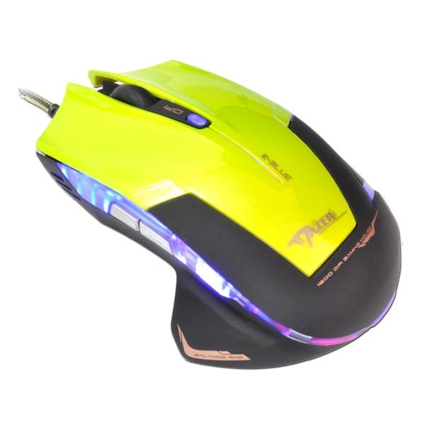 E-Blue Myš Mazer R, 2400DPI, optická, 6tl., 1 koliesko, drôtová USB, zelená, herná