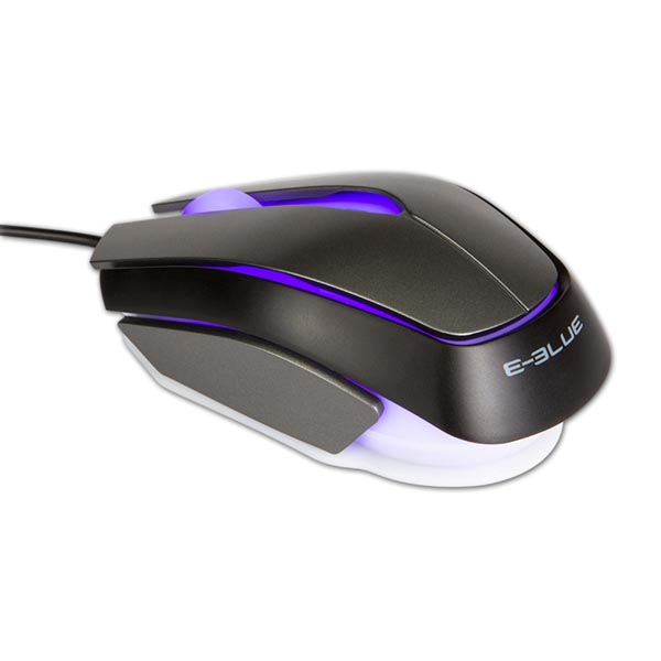 E-Blue Myš Mood, 2400DPI, optická, 3tl., 1 koliesko, drôtová USB, čierna, 3 farby podsvietenia