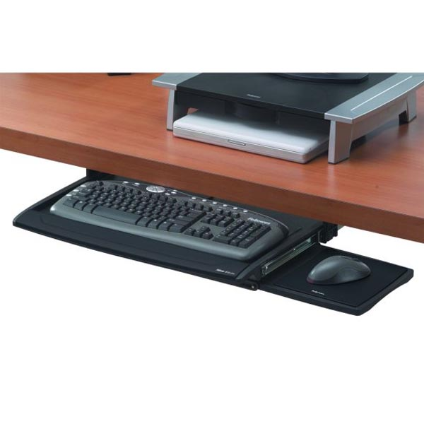 Držiak klávesnice a myši Office Suites, pod stôl, čierny, plast, Fellowes