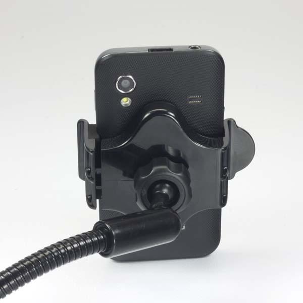 Držiak na mobil, PDA, GPS LOGO kĺbový, do auta, nastavitelná šírka, čierny, plast, s USB adaptérom 1.5 A, čierna, mobil