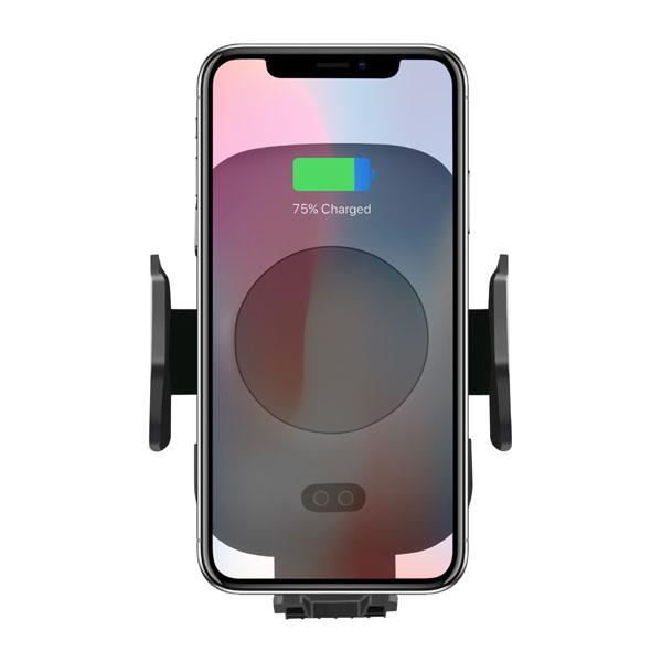 Držiak na mobil do auta, s bezdrôtovým nabíjaním, motorické uchytenie, senzor pohybu, Qi, čierna