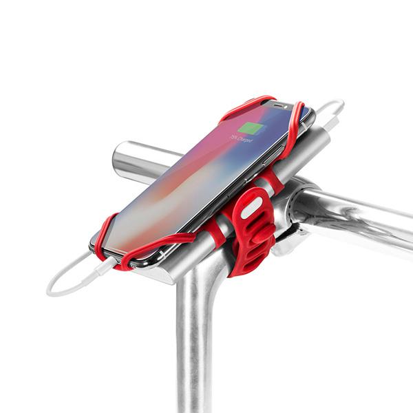 """Držiak mobilu a powerbanky Bone Bike Tie 3 Pro Pack, na bycikel, nastaviteľná veľkosť, červený, 4-6.5"""", silikón, na riadidlá, červ"""