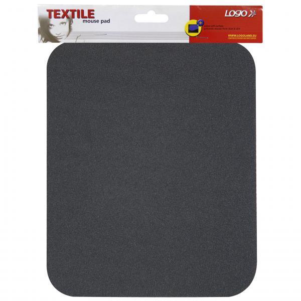 Podložka pod myš, mäkká, čierna, 24x22x0,3 cm, Logo