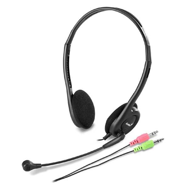 Genius HS-200C, slúchadlá s mikrofónom, čierna, 2x 3.5 mm jack