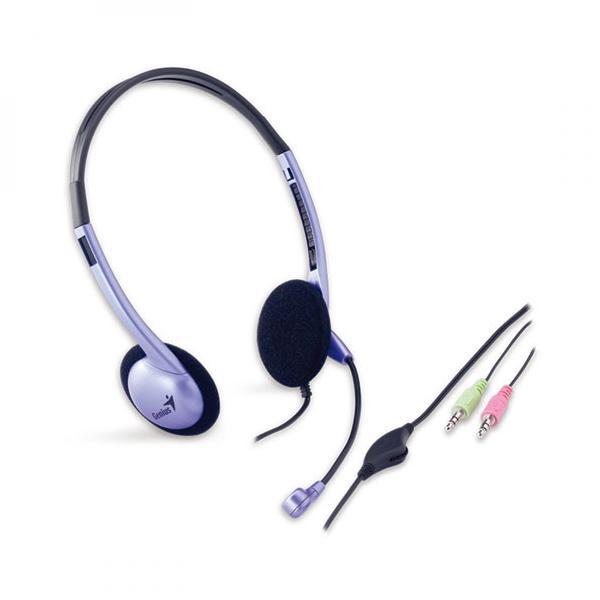 Genius HS-02B, slúchadlá s mikrofónom, ovládanie hlasitosti, čierno-strieborná, 2x 3.5 mm jack