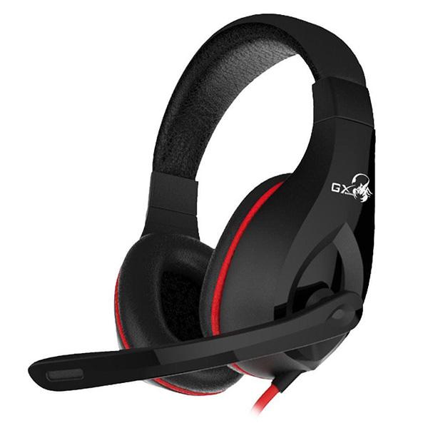 Genius GX Gaming LYCHAS HS-G560, herné slúchadlá s mikrofónom, ovládanie hlasitosti, čierna/červená, 3.5 mm jack