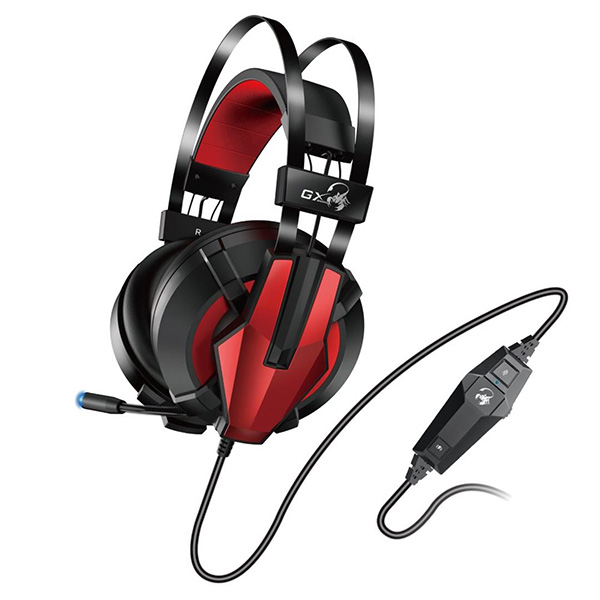 Genius HS-G710V, herné slúchadlá s mikrofónom, ovládanie hlasitosti, čierna/červená, USB