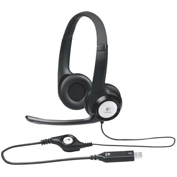 Logitech Stereo H390, slúchadlá s mikrofónom, ovládanie hlasitosti, čierna, USB