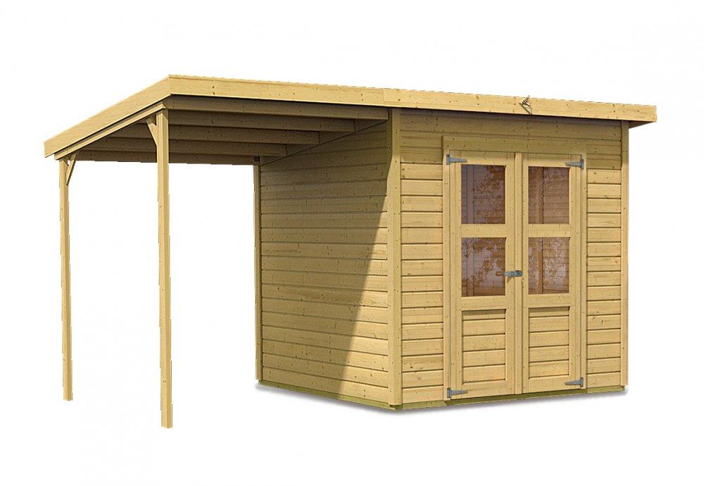 drevený domček KARIBU MERSEBURG 5 + prístavok 166 cm (68767) natur