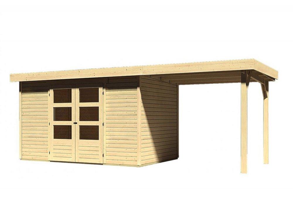 drevený domček KARIBU ASKOLA 4 + prístavok 240 cm (73247) natur