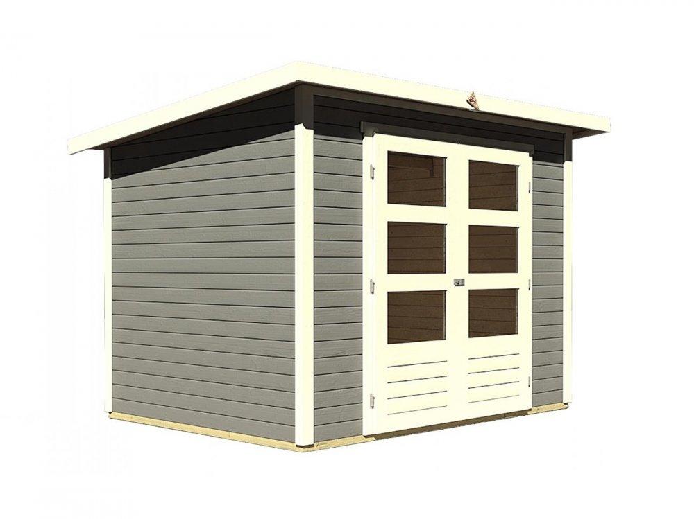 drevený domček KARIBU STOCKACH 3 (82979) tm. sivý